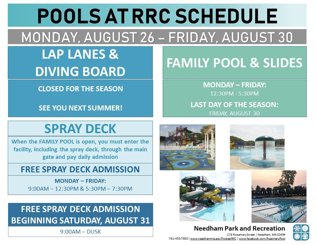 POOLS - CLOSING 2 - 2019 MONDAY, AUGUST 26 - FRIDAY, AUGUST 30