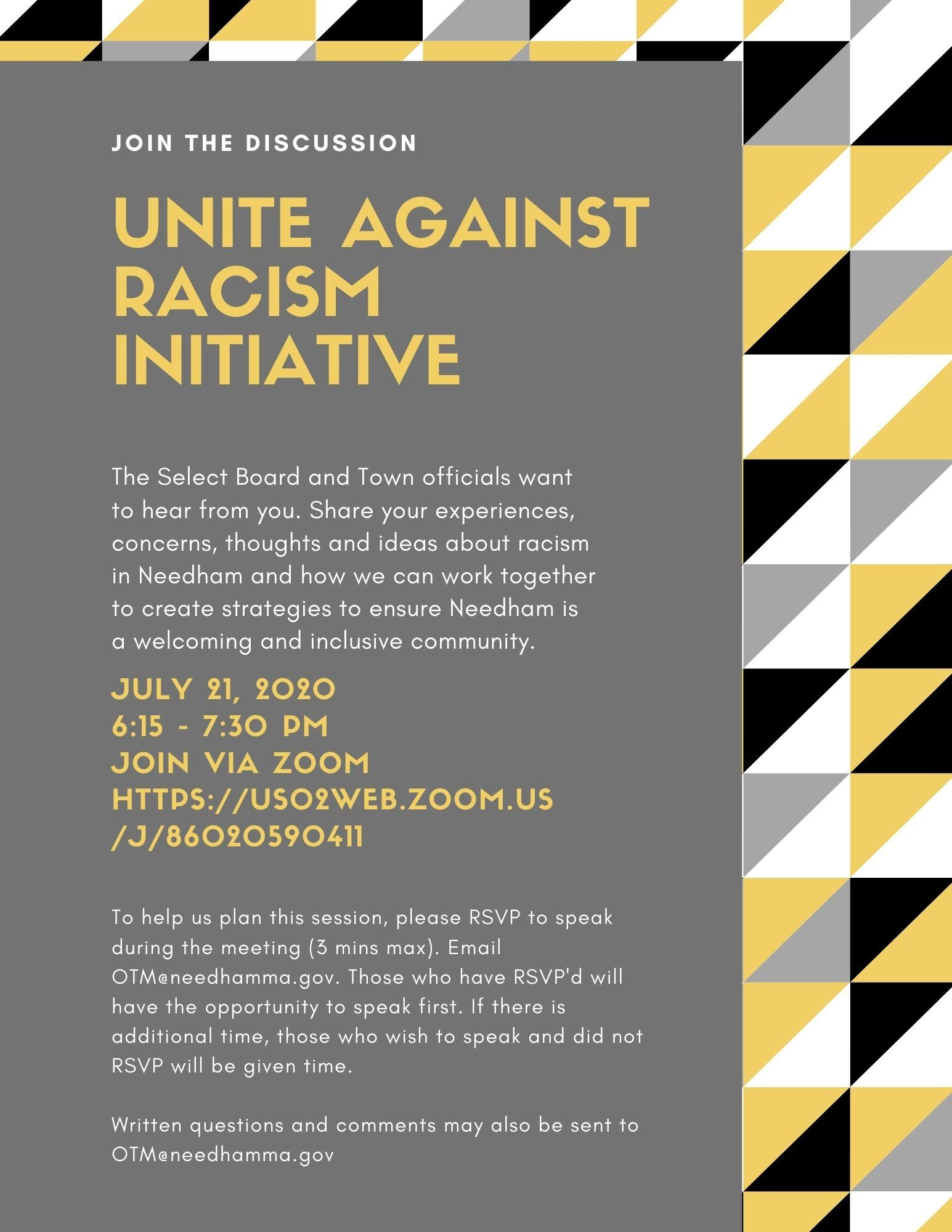 Needham Unite Against Racism initiative July 21 final