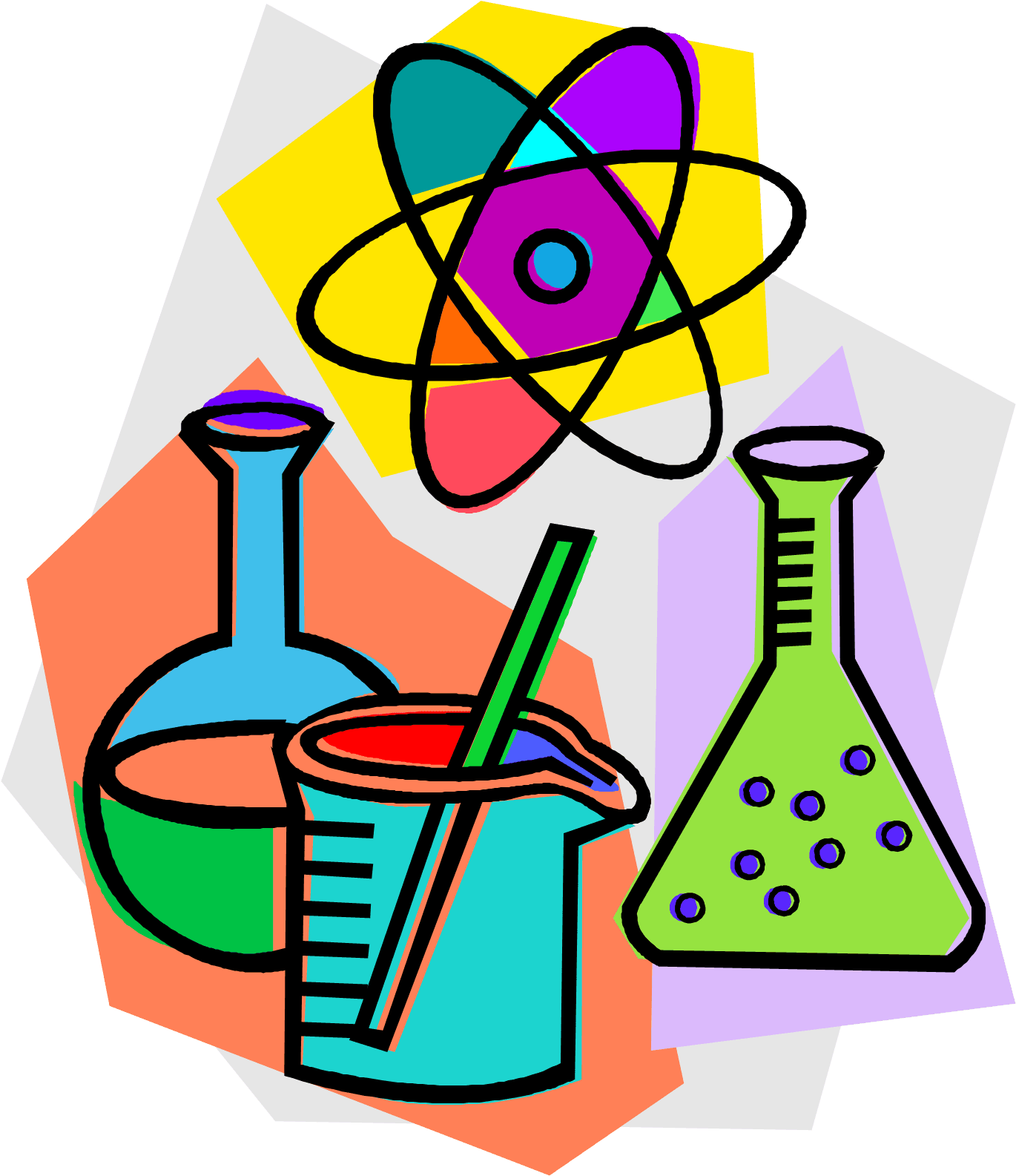 a drawing of three different beakers with different colored liquids