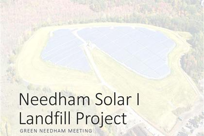 Page 1 of the Green Needham Presentation of the Solar 1 Landfill Project