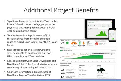 Page 14 of the Green Needham Presentation of the Solar 1 Landfill Project