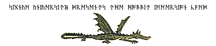 Dwarvish runes and an illustration of Smaug