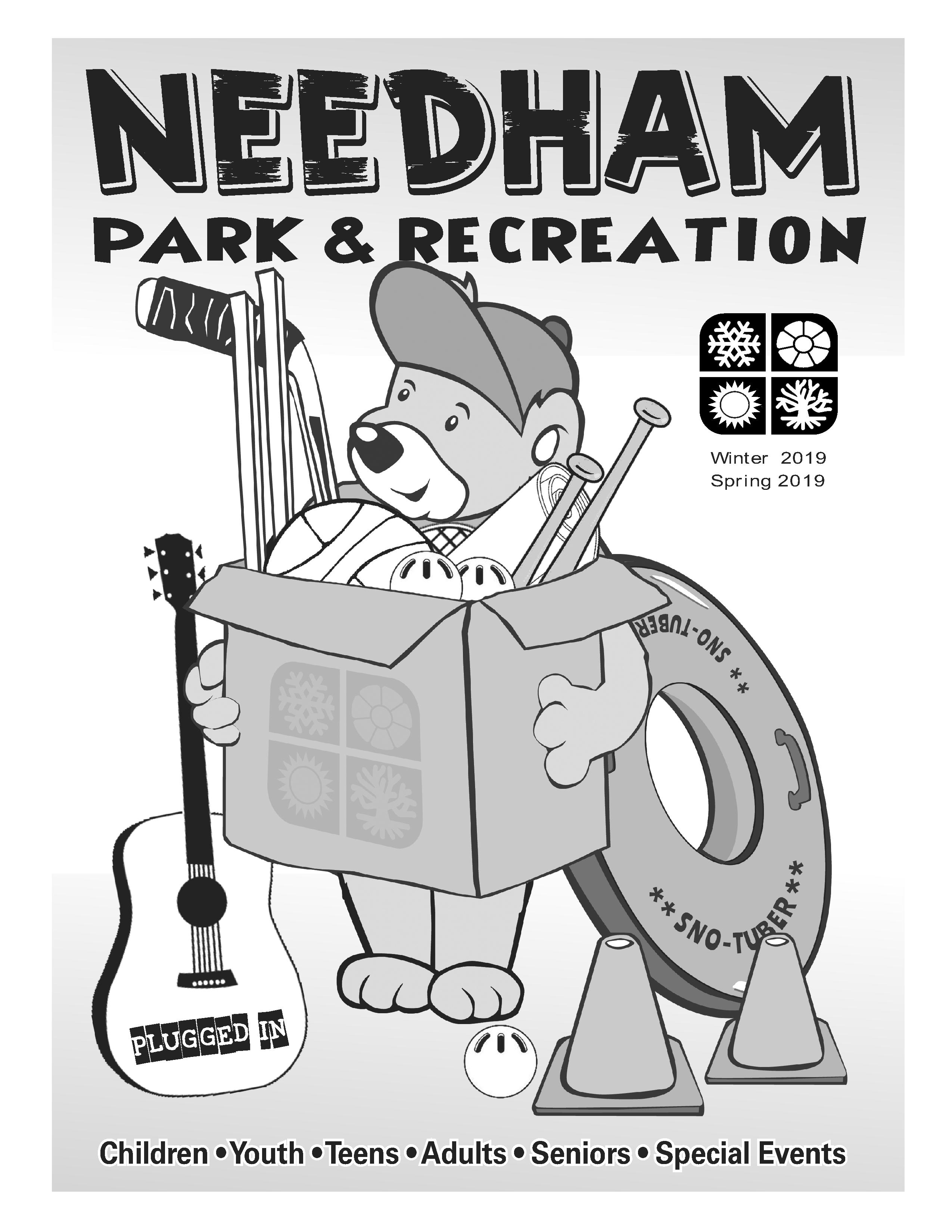 Image of a bear holding a box with equipment in it with the Park and Recreation Logo